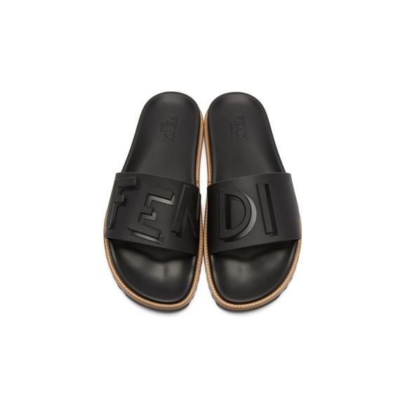 b8c2820d Mens Rubber Black Fendi Vocabulary Slides Sandals Boutique